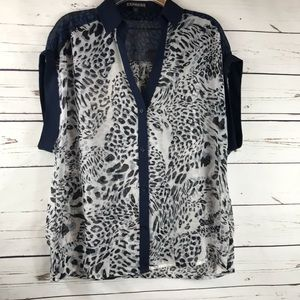 3/$20 Express Button Down Top Animal Print XS